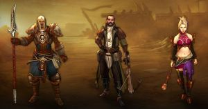 The 3 followers in Diablo III. From left to right: The Templar, Lyndon the Scoundrel, and Eirena the Enchantress.
